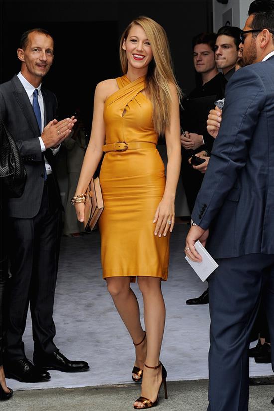 Blake Lively wearing Gucci at Milan Fashion Week, 2013
