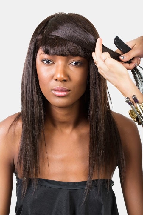 <strong>EMBELLISHED SIDE-SWEEP </strong> <br><strong>Step 1 </strong> <br>Begin by choosing the direction you would like your hair to flow. Make a diagonal part, beginning from the outer edge of your fringe, toward the middle of your head.