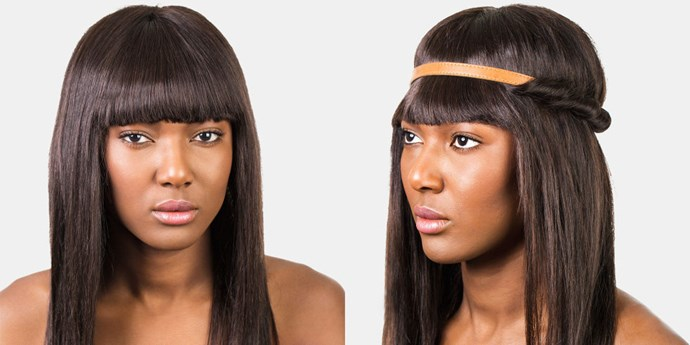 <br><strong>TWISTED HEADBAND </strong> <br>Sometimes the issue isn't that your bangs are in your face, but the halo of frizz around your crown. Annastasia recommends this Coachella-ready style to keep things in place on humid days. (It's also great for the days you don't have time to properly blow out your fringe.) <br><br><strong>What you need: </strong> <br>A headband <br><br><em><em><br>Pictured: Jennifer Behr Thin Leather Headwrap, jenniferbehr.com</em></em>