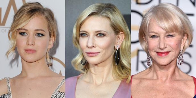Jennifer Lawrence, Cate Blanchett and Helen Mirren.