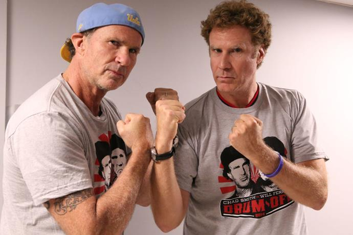 Chad Smith of the Red Hot Chilli Peppers and Will Ferrell.