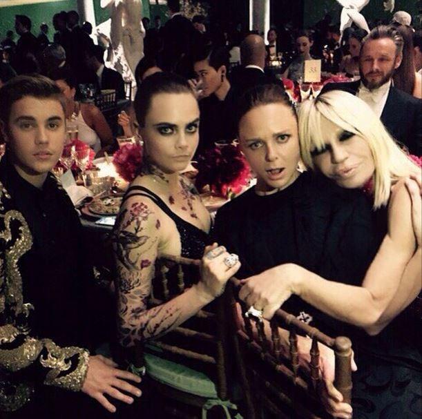 "Justin Bieber, Cara Delevingne, Stella McCartney and Donatella Versace<br><br> ""Having fun with Justin, Cara and Stella #MetGala"" - @versace_official"