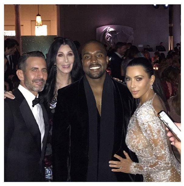 """Marc Jacobs, Cher, Kanye West and Kim Kardashian<br><br> """"Met Gala with @theMarcJacobs and Cher!!!!"""" - @kimkardashian"""