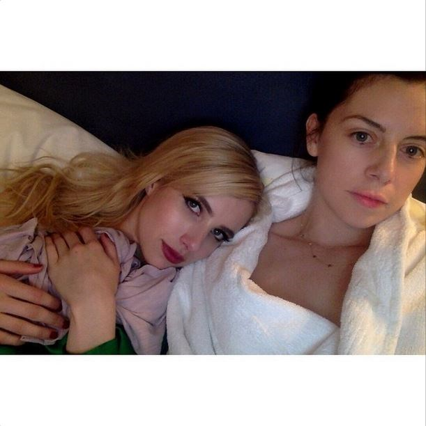 "Emma Roberts and Brit Elkin<br><br> ""Post #Metball slumber @britelkin"" - @emmaroberts"