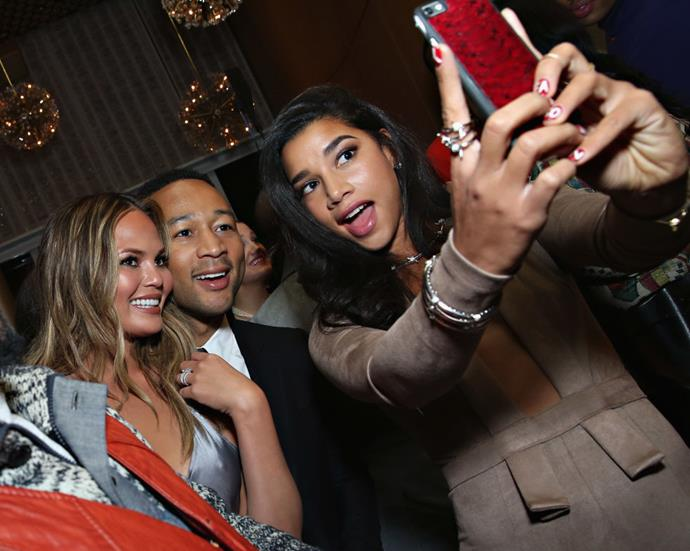 <strong>CHRISSY TEIGEN, JOHN LEGEND, AND HANNAH BRONFMAN</strong>