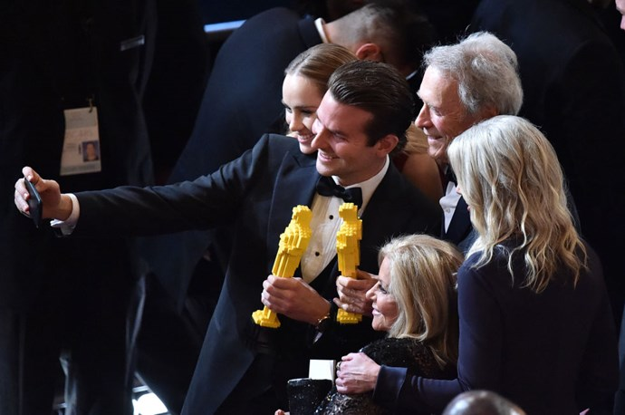 <strong>SUKI WATERHOUSE, BRADLEY COOPER, AND CLINT EASTWOOD</strong>