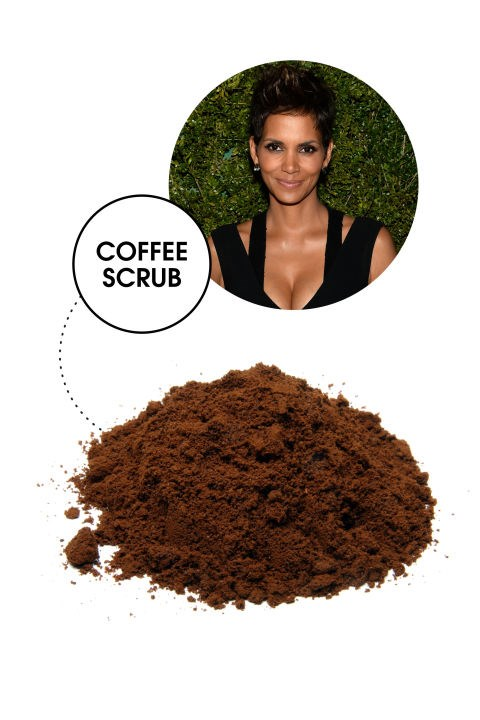 <strong>HALLE BERRY</strong> <BR> While some studies show that a couple cups of coffee daily are a great way to get metabolism whirring, Berry allegedly relies on grounds for their external, body-toning benefits. And she's not off the mark: The caffeine content in coffee has been shown to firm up skin and even reduce the appearance of cellulite.