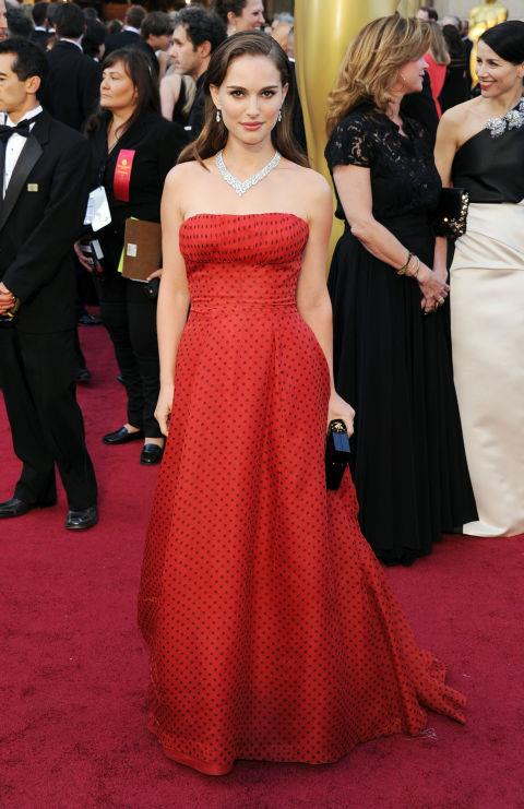 """2012<br> At the Academy Awards: """"My aunt called right before the show and said, 'You always wear your hair up. You should wear it down!' The dress is vintage Dior. My husband picked it."""""""