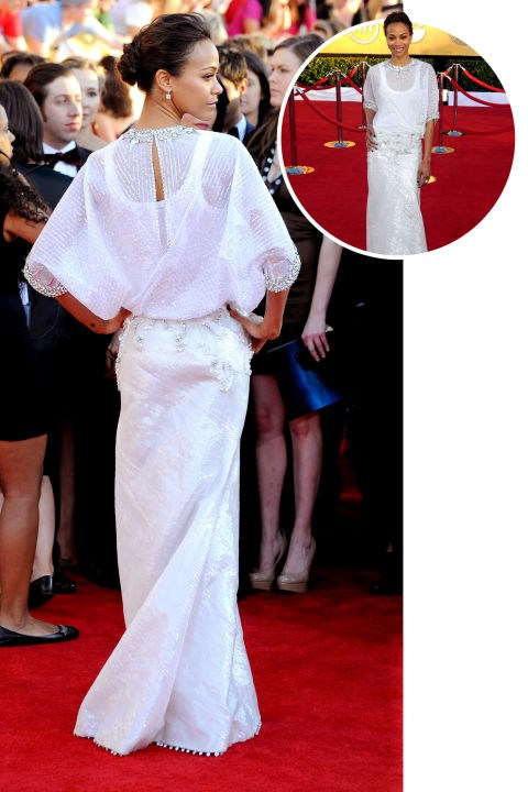 <strong>Zoe Saldana</strong><BR> In Givenchy Haute Couture at the 2012 Screen Actors Guild Awards
