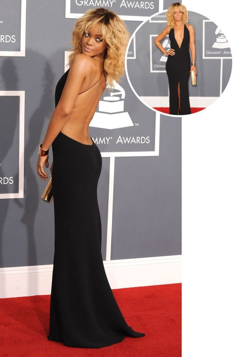 <strong>Rihanna</strong><br> In Armani at the 2012 Grammys