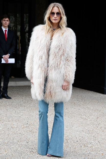<strong>Flared Denim</strong><br> If you haven't got the 70s redux memo, you've obvi' been living under a rock! Poppy Delevingne's groovy pins have us running—not walking—towards this trend.