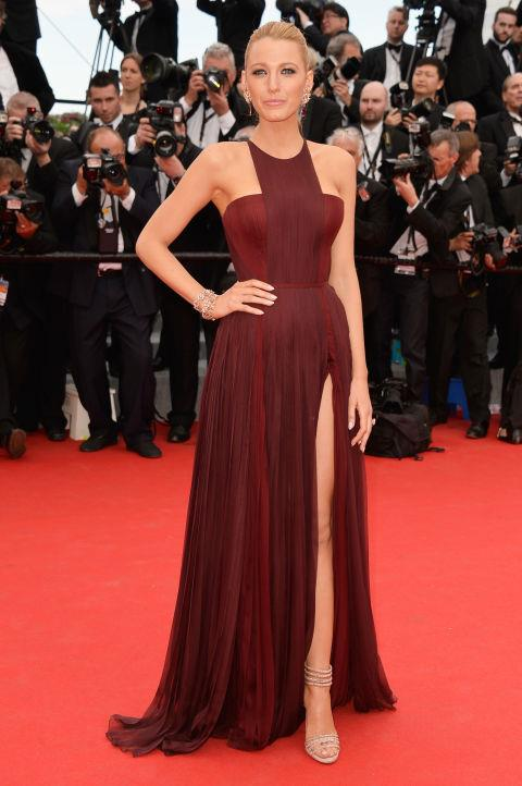 <strong>BLAKE LIVELY</strong> <BR> Wearing Gucci Première in 2014.