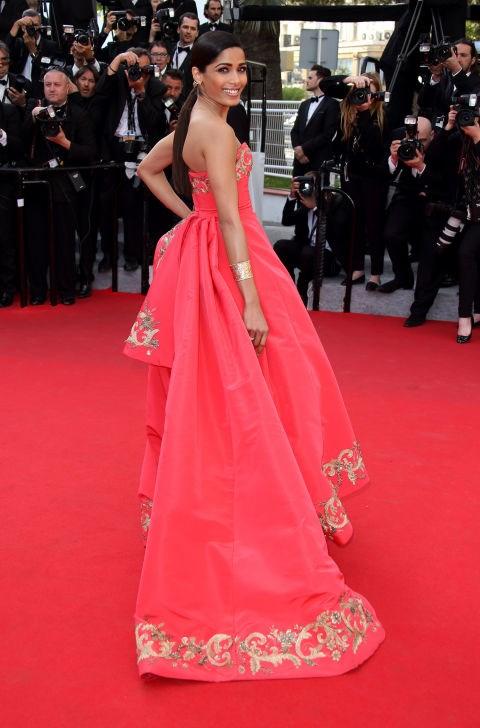 <strong>FREIDA PINTO</strong> <BR> Wearing Oscar de la Renta in 2014.