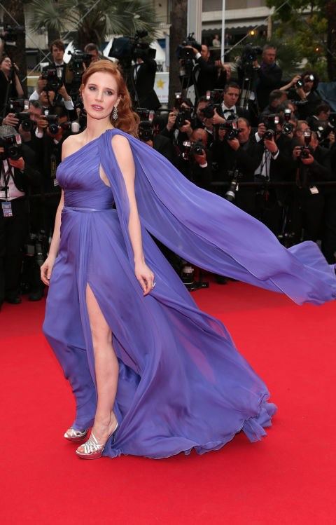 <strong>JESSICA CHASTAIN</strong> <BR> Wearing Elie Saab Couture in 2014.