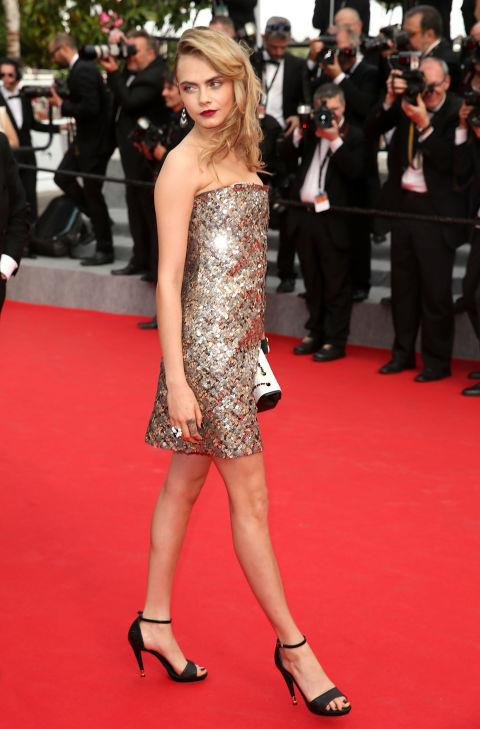 <strong>CARA DELEVINGNE</strong> <BR> Wearing Chanel in 2014.