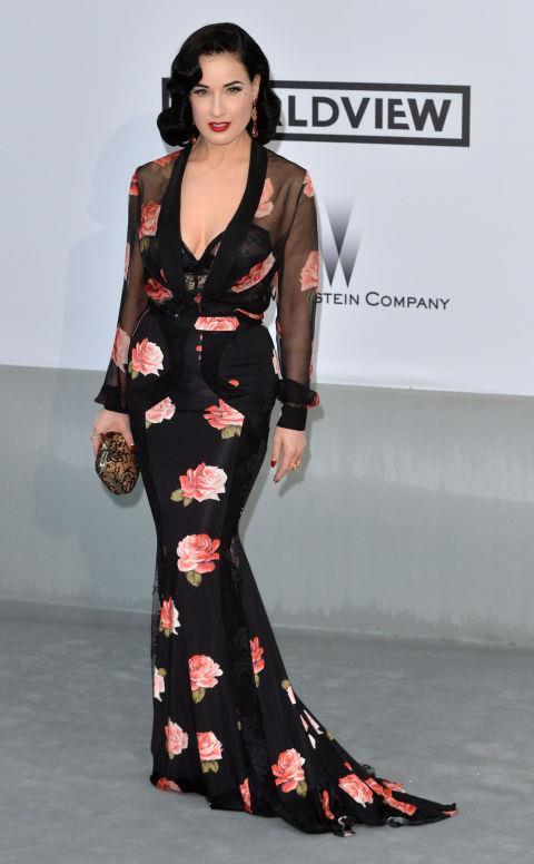 <strong>DITA VON TEESE</strong> <BR> Wearing Blumarine in 2014.