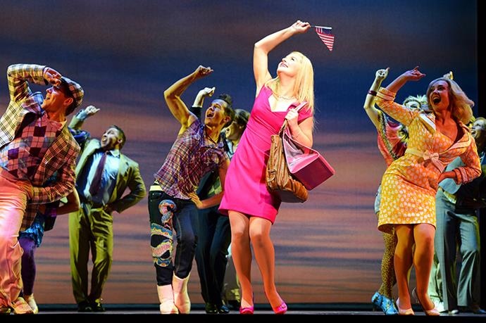 """<strong><em>Legally Blonde</em></strong> <br>Making its Broadway debut in 2007, Legally Blonde featured everything from a musical number named """"Bend 'n' Snap"""" to an actual Chihuahua trotting around the stage. <br><br>We also<em> loved</em> the Aussie version with singing dancing superstar Lucy Durack."""