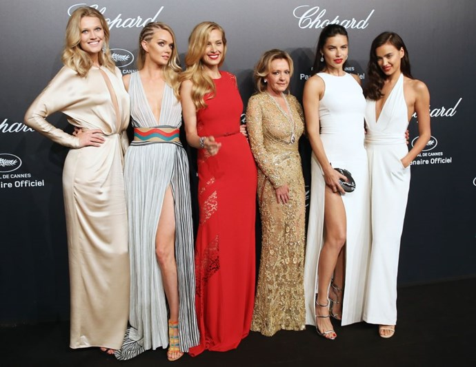 <strong>TONI GARRN, LINDSAY ELLINGSON, PETRA NEMCOVA, CAROLINE SCHEUFELE, ADRIANA LIMA, AND IRINA SHAYK</strong> <BR> Ellingson in Sophie Theallet
