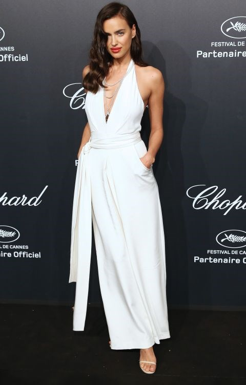 <strong>IRINA SHAYK</strong> <BR> In a Misha Nonoo jumpsuit