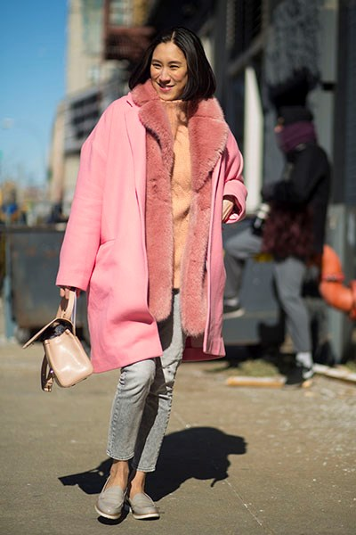 """A true New Yorker isn't afraid to show off her ankles, despite the sub-zero temperatures- or layer pretty pinks with grey."""