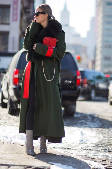 """Normally, I'd never wear green with red (except on Christmas Day) but the combination feels fresh here, especially paired with fab grey Gucci boots."""