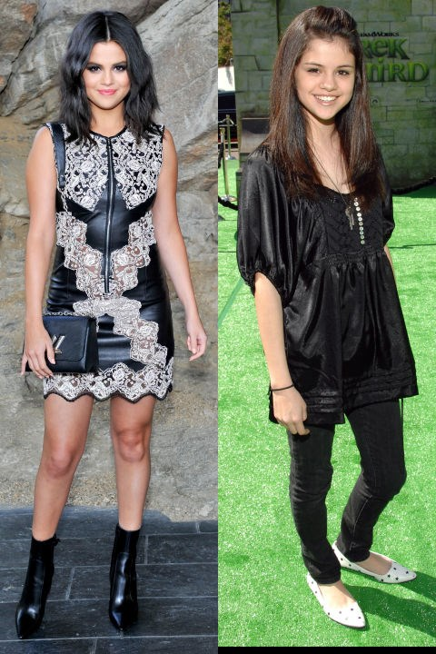 <strong>SELENA GOMEZ</strong> <BR> <strong>Now:</strong> At the Louis Vuitton 2016 Cruise Collection show <BR> <strong>Then:</strong> At the <em>Shrek the Third</em> Los Angeles premiere in 2007
