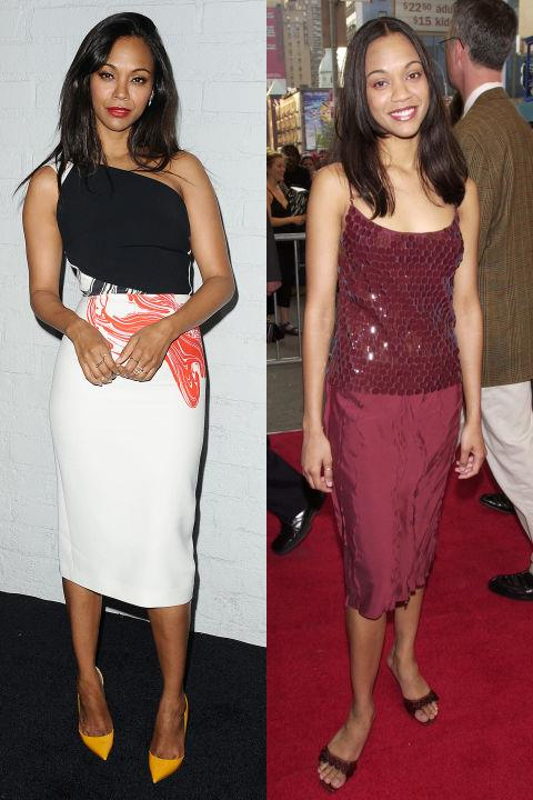 <strong>ZOE SALDANA</strong> <BR> <strong>Now:</strong> At the Samsung launch of the Galaxy S 6 and Galaxy S 6 Edge event <BR> <strong>Then:</strong> At the <em>Center Stage</em> premiere in 2000