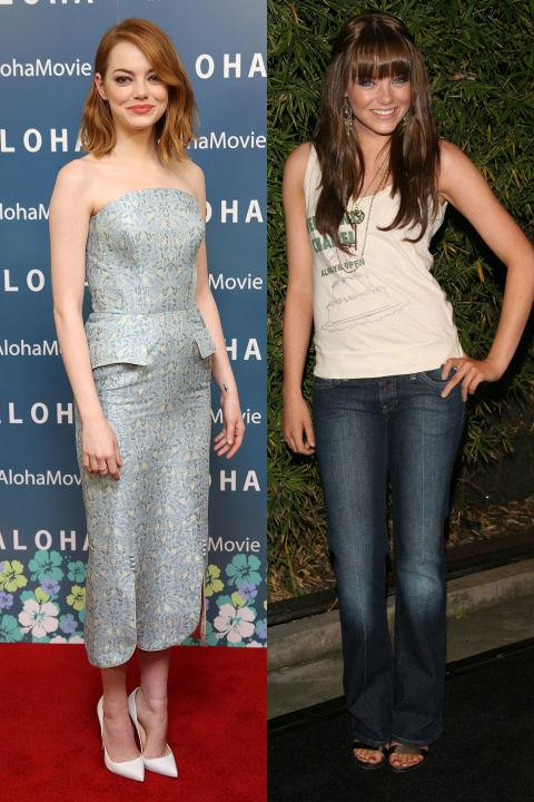 <strong>EMMA STONE</strong> <BR> <strong>Now:</strong> At the London premiere of <em>Aloha</em> <BR> <strong>Then:</strong> At a Replay Brand party in 2006
