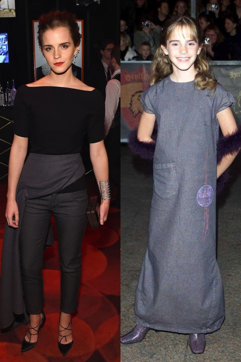 <strong>EMMA WATSON</strong> <BR> <strong>Now:</strong> At the Time 100 Gala <BR> <strong>Then:</strong> At the <em>Harry Potter and the Philosopher's Stone</em> premiere in 2001