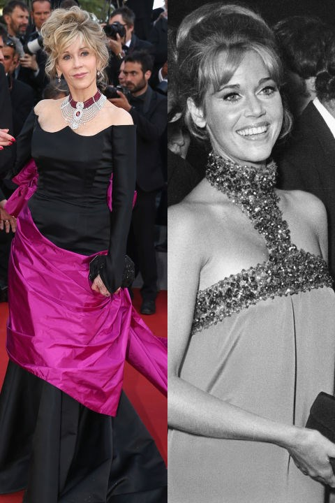 <strong>JANE FONDA</strong> <BR> <strong>Now:</strong> At the Cannes Film Festival <BR> <strong>Then:</strong> At the premiere of <em>The Game is Over</em> in 1966