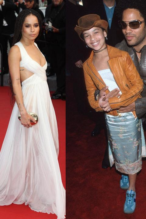 <strong>ZOE KRAVITZ</strong> <BR> <strong>Now:</strong> At the Cannes Film Festival <BR> <strong>Then:</strong> With her dad at the 42nd Annual Grammy Awards in 2000