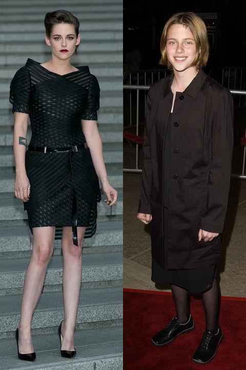 <strong>KRISTEN STEWART</strong> <BR> <strong>Now:</strong> At the Chanel 2015-16 Cruise Collection show <BR> <strong>Then:</strong> At the <em>Panic Room</em> premiere in 2002