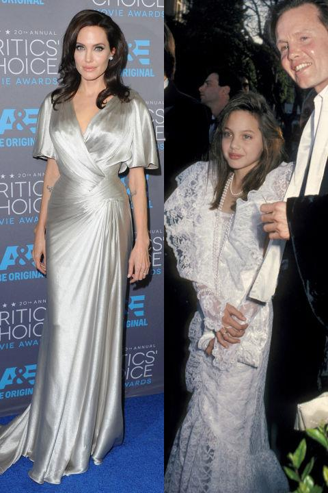 <strong>ANGELINA JOLIE</strong> <BR> <strong>Now:</strong> At the Critics' Choice Movie Awards <BR> <strong>Then:</strong> With her dad at the 58th Annual Academy Awards in 1986
