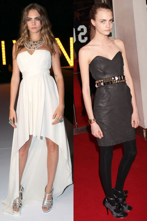 <strong>CARA DELEVINGNE</strong> <BR> <strong>Now:</strong> At the Cannes Film Festival <BR> <strong>Then:</strong> At the London premiere of <em>Remember Me</em> in 2010