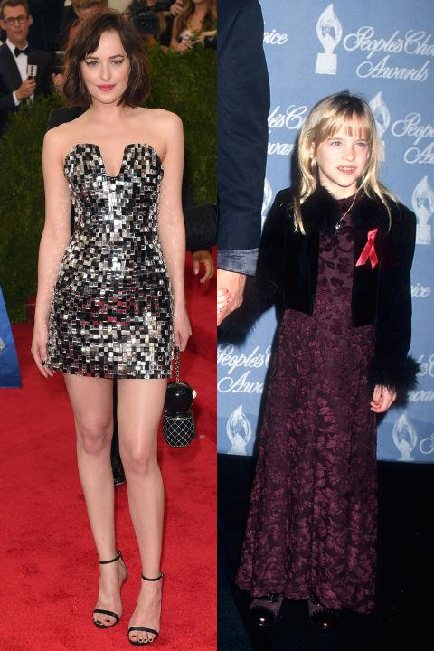 <strong>DAKOTA JOHNSON</strong> <BR> <strong>Now:</strong> At the Met Gala <BR> <strong>Then:</strong> At the 23rd Annual People's Choice Awards in 1997