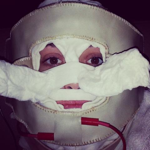 """<strong>EMMY ROSSUM</strong> <BR> best facial ever? or Hannibal Lecter Halloween costume? <BR> —<a href=""""https://instagram.com/emmyrossum/"""">@emmyrossum</a>"""