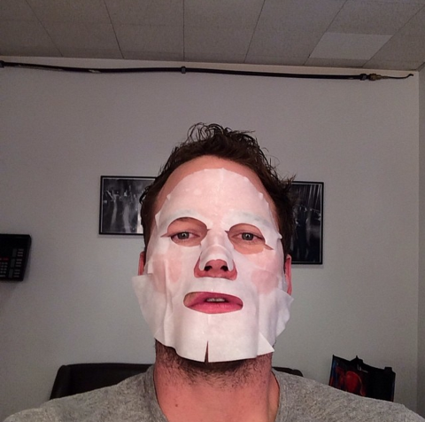 """<strong>CHRIS PRATT</strong> <BR> Backstage <a href=""""https://instagram.com/Letterman/"""">@Letterman</a> I'm wearing this creepy mask because it will make me look more radiant? #Baller#guardiansofthegalaxy <BR> —<a href=""""https://instagram.com/prattprattpratt/"""">@prattprattpratt</a>"""