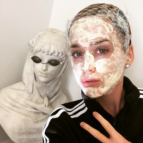"""<strong>KATY PERRY</strong> <BR> IRL facetune #preppinforpuppybowl #swag#bringswagbackin2k15 <BR> —<a href=""""https://instagram.com/katyperry/"""">@katyperry</a>"""