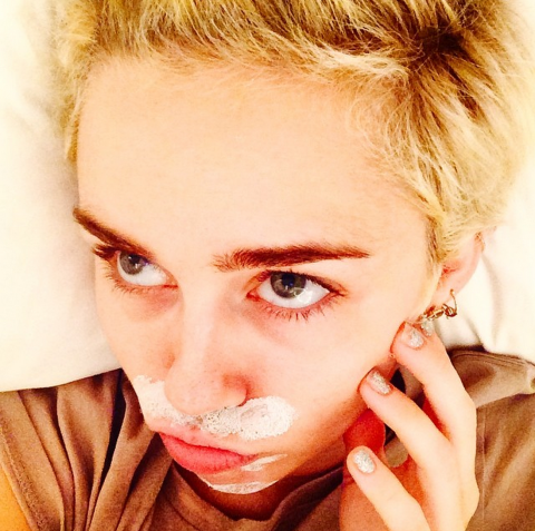 "<strong>MILEY CYRUS</strong> <BR> zitcream mustache <BR> —<a href=""https://instagram.com/mileycyrus/"">@mileycyrus</a>"