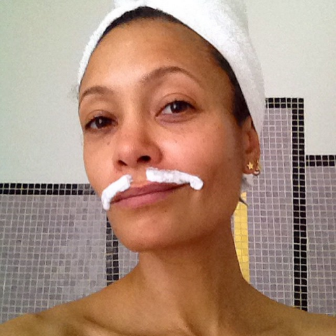 """<strong>THANDIE NEWTON</strong> <BR> Dealing with the tash in readiness for the Royal Premiere tonight! Go @JolenBeauty #jolen ! XT <BR> —<a href=""""https://instagram.com/p/zNJ5QcxPRA/"""">@thandieandkay</a>"""