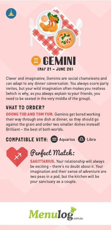 <strong>GEMINI (May 21 - June 20)</strong> <BR> Your favourite food: Goong tod and Tom yum <BR> Compatible with: Aquarius, Libra <BR> Your food friend: Sagittarius