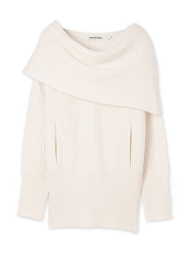"Knit, $149, Country Road,<a href=""http://www.countryroad.com.au/shop/woman/clothing/new-in/60181520/Layered-Rib-Knit.html""> countryroad.com.au</a>"