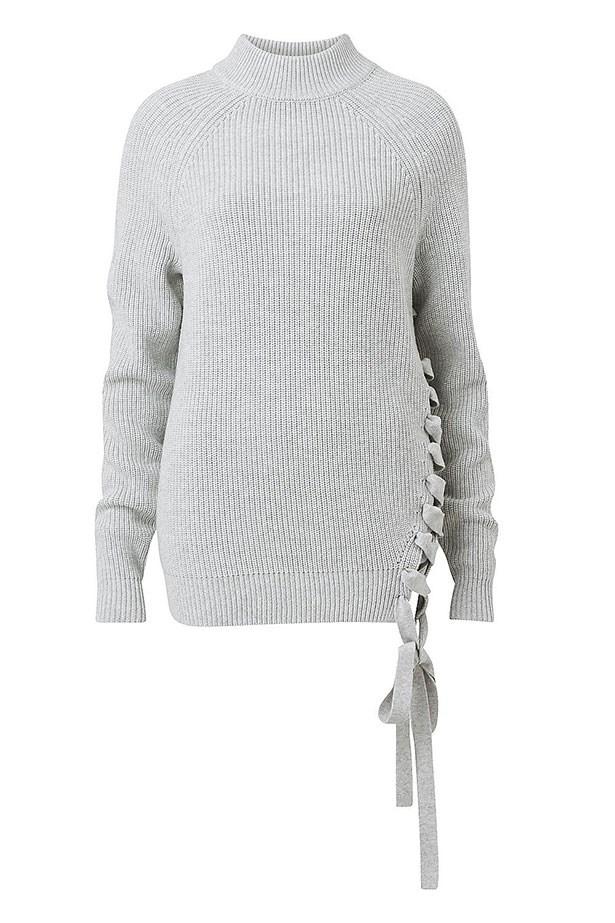 "Knit, $169.95, Witchery, <a href=""http://www.witchery.com.au/shop/new-in/woman/60181463/Ciccone-Lace-Up-Knit.html"">witchery.com.au</a>"