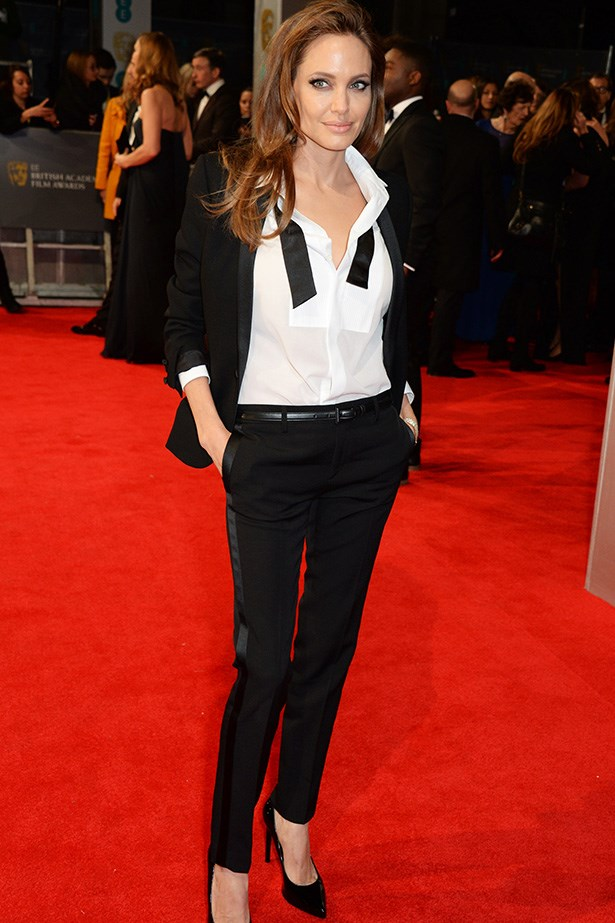 Nobody wears a tux quite like Angelina. Especially this Saint Laurent number to the 2014 BAFTA Awards.