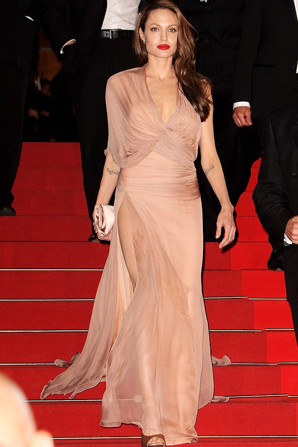 Full glamour at Cannes in 2009, wearing Versace.