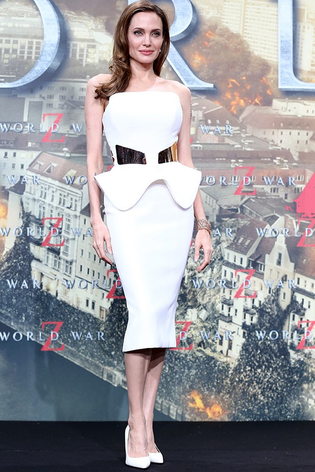 A little sculptured silk crepe Ralph & Russo to the premiere of World War Z in 2013.