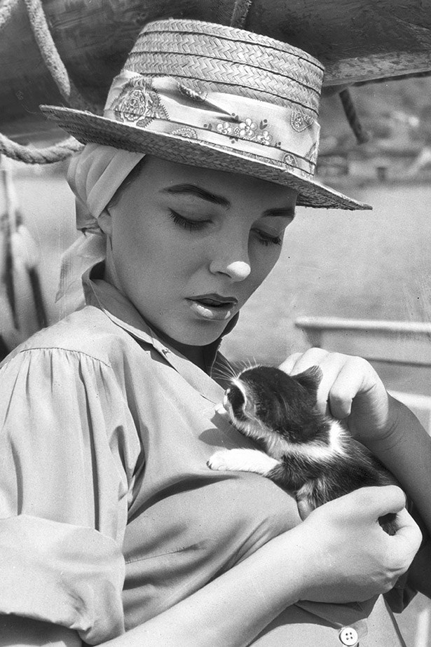Joan Collins, casually cruising with a kitten in 1957.