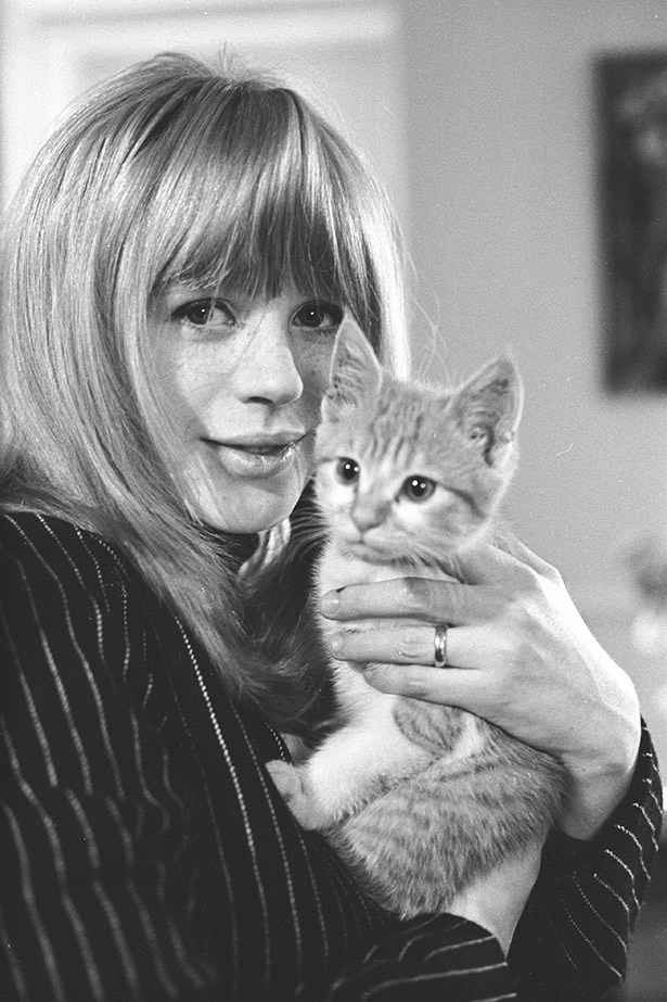 Cool as. Marianne Faithfull in  a private photoshoot in her London flat, circa 1966.