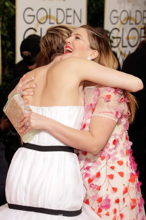<p><strong>Jennifer Lawrence and Drew Barrymore</strong> <p>One-hug-isn't-enough friends.