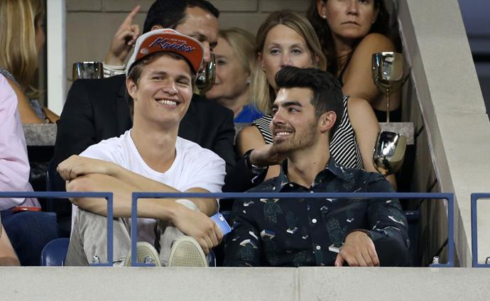 <p><strong>Ansel Elgort and Joe Jonas</strong> <p>Game day bros.
